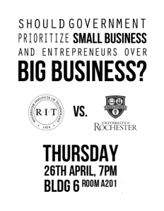 RIT vs. U of R Debate Flyer